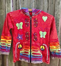 Girls Hoodie Jacket with Butterfly and Rainbows