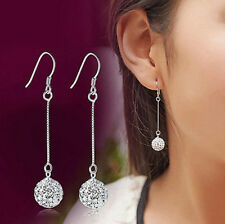 1Pcs Women Long Silver Hook Earring Crystal Ear Stud Drop Dangle Earrings