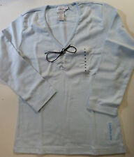 BRAND NEW LADIES WOMENS SIZE CALVIN KLEIN JEANS BABY BLUE V NECK TOP £21.99