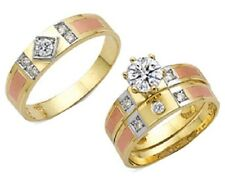 14k Yellow Gold/Tricolor His & Her CZ Engagement Ring Wedding Band Set
