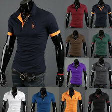 2015 New Fashion Men's Stylish Slim Fit Short Sleeve Casual Polo Shirts T-shirt