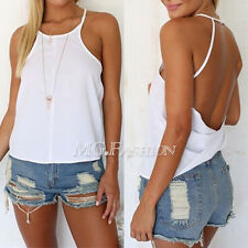 Women Summer Loose Casual Chiffon Backless Vest Shirt Tops Blouse Ladies Top