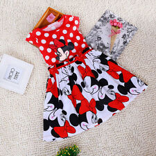 Baby Girl Mickey Minnie Mouse Summer Red Polka Sleeveless Kids Dress Party 1-6Y
