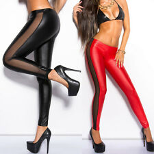 New Women's Skinny Party Stretchy Mesh Long Splicing PU Leather Leggings