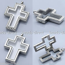 NEW Cross Floating Memory Living Glass Locket Pendant Fit Floating Charms DIY
