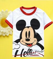 NWT Baby Kids Boys Girls Mickey Mouse White Tops Shirts T-shirt 2-7Years 99#