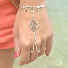 Fashion Lady Metal Slave Chain Link Interweave Finger Ring Hand Harness Bracelet
