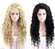 New Cosplay black/blonde long curly Heat Resistant Women's Hair full wig