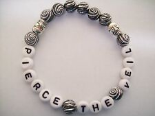personalise,custom your wording etc free p&p silver swirl & skull bead bracelets