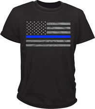 American Flag BLUE LINE TSHIRT - SUPPORT POLICE T SHIRT tee MADE IN U.S.A.