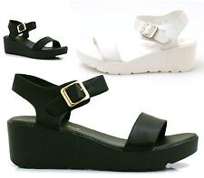 Ladies Low Mid Block Heel Ankle Strap Womens Wedge Sandal Platform Flatform Shoe