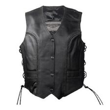 LADIES WOMENS BIKER MOTORCYCLE BRAIDED SOFT PREMIUM LEATHER VEST w / LACE - DA49