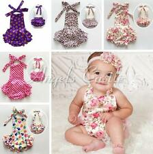 Baby Infant Girls Rustic Lace Ruffle Romper Backless Halter Jumpsuit SZ 0-24M
