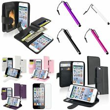 Color Flip Wallet Leather Case+Touch Stylus+Anti Glare SP For ipod touch 5 6 Gen