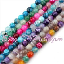 "8mm Round Faceted Stripe Agate Onyx Spacer Gemstone Beads Strand 15"" Pick Color"