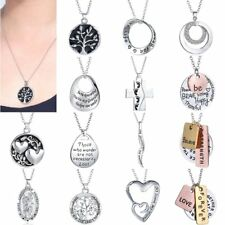 New Silver Handmade Letter Tree Letter Family Love Friends Chic Necklace Charm