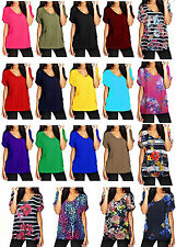 New Womens Baggy Fit Top Ladies Turn Up Loose Short Sleeve Top T Shirt Plus Size