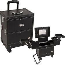 3-Tiers Expandable Trays Leather Finish 4-Wheels Pro Cosmetic Makeup Case-C6014