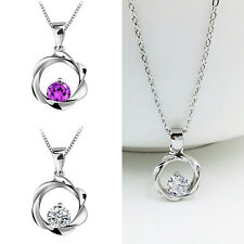 Ladies Jewelry Rhinestone Crystal Lucky Pendant Necklace Silver Plated Chain 1PC