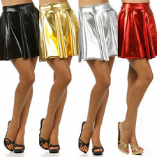 S M L Skirt Metallic Shiny Circle Liquid Mini Wet Look Sexy Club Women New Solid