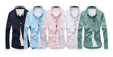 Fashion Men Stylish Casual Dress Long Sleeve Slim Fit Men Pure color T-Shirts C