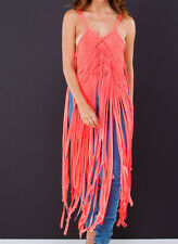 New N.Coral Fringe Benefits Knotty Textured 12149 Macrame Tank Dress Top S M L