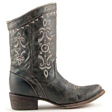 Crackle Black Short Boots with Embroidery by Corral Boots Size 10.0 Medium Width