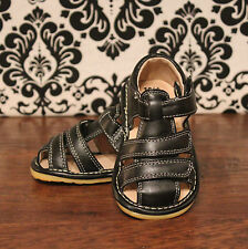 Boys Black Adjustable Strap Squeaky Sandals Shoes, Sizes 3, 4, 5, 6, 7, 8, 9