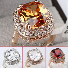 Solitaire Simulated Gemstone Ring 18KGP CZ Rhinestone Crystal Size 5.5-9