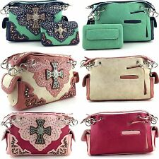 Western Cowgirl Large Rhinestone Cross PU Leather Concealed Carry Handbag Purse