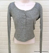 Hollister Emerald Cove Lace Back Cropped Henley Gray Sz Large NWT