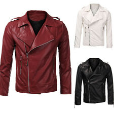 FASHION Mens Slim Fit PU Leather Collar Motorcycle Zipper Jackets Coat Outwears