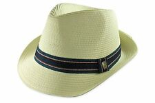 Straw Fedora Hat Ivory Panama Trilby Blue Ribbon Beach Summer Cuban Style M L XL