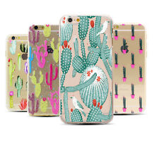 Cute Blooming Cactus Plants Print On Soft TPU Clear Case For iPhone 5 5S 6 6Plus