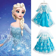 USA SELLER Frozen Elsa Dress Up Gown Costume Ice Princess Queen Anna 2T- 9Y K8