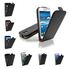 Vertical Magnetic Lock PU Leather Flip Case Skin Up& Down Open For Mobile Phones
