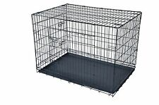 """Black Blue 24"""" 30"""" 36"""" 42"""" 48"""" 2 Door Wire Folding Pet Dog Cage Crate Kennel"""