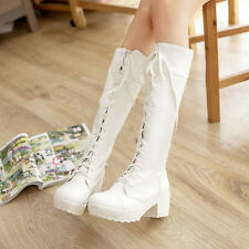 New Fashion Womens Knight Riding Boots Mid-calf Boots Block Heels Lace-up Shoes