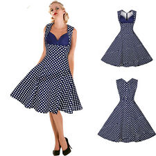 Retro Women Halter Swing pinup Vintage Rockabilly Polka Dot Housewife Sexy Dress