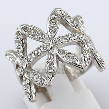 Fashion Band Ring 18KGP CZ Rhinestone Crystal Size 5.5-9