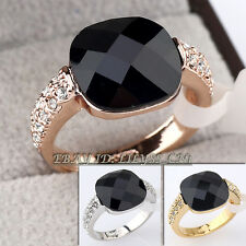 Fashion Simulated Onyx Ring 18KGP CZ Rhinestone Crystal Size 5.5-9
