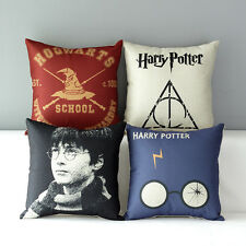 Movie Book Harry Potter Throw Pillowcase Soft Cotton Linen Back Cushion Cover