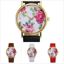 New Fashion Women Faux Leather Geneva Rose Flower Watch Analog Quartz Watches