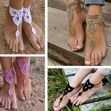 Fashion Barefoot Sandals Crochet Cotton Foot Jewelry Anklet Bracelet Ankle Chain