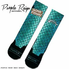 "NIKE AIR FOAMPOSITE PRM ""GONE FISHING"" Custom Premium Socks (ALL SZ) sox foams"