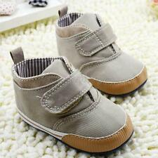 Newborn Baby Boys Soft Sole High Crib Shoes Toddler Ankle Boot Canvas New