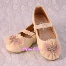 Lace Lather Ballet Slipper Shoes US Size 8.5-1.5 Flower Girl Pageant Party GS014
