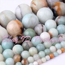 "Natural Amazonite Round Multicolor Smooth Gemstone Beads Strand 15"" 4,6,8,10mm"
