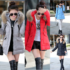 Fashion Winter Women Down Thermal Warm Long Fur Collar Hooded Coat Jacket Parka