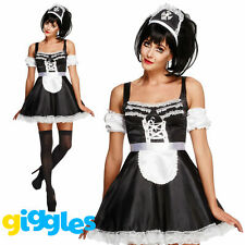 Ladies Fever Flirty French Maid Costume Sexy Servant Uniform Fancy Dress Outfit